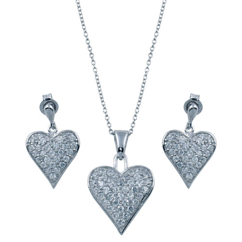 Wholesale Sterling Silver 925 Rhodium Plated Heart CZ Stud Dangling Earring and Necklace Set - STS00164