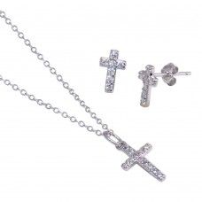 Wholesale Sterling Silver 925 Rhodium Plated Cross CZ Stud Earring and Necklace Set - STS00169