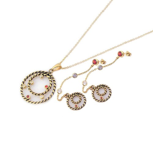 Wholesale Sterling Silver 925 Rhodium Plated Circle Rope Necklace and Earrings Set - STS00172