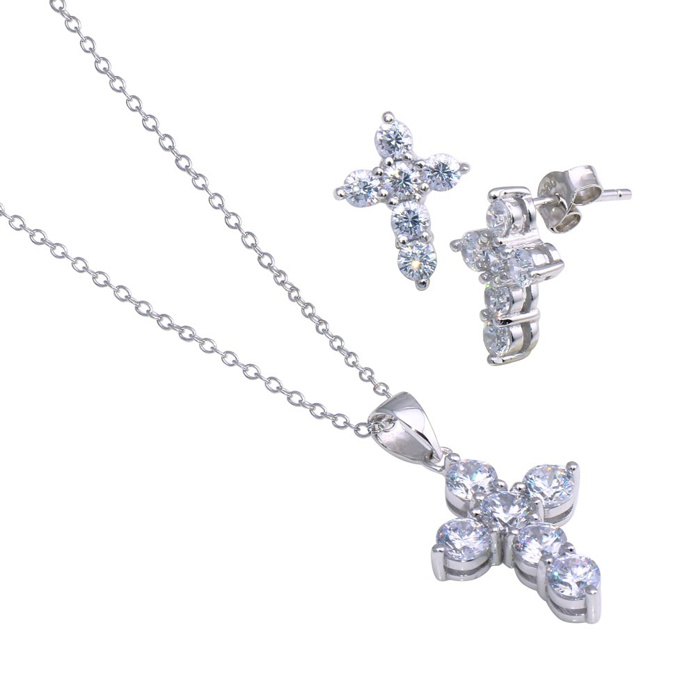 Wholesale Sterling Silver 925 Rhodium Plated Cross CZ Stud Earring and Necklace Set - STS00173