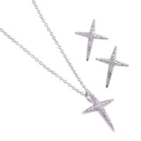 Wholesale Sterling Silver 925 Rhodium Plated Sharp Cross Star CZ Stud Earring and Necklace Set - STS00199