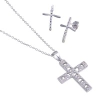 Wholesale Sterling Silver 925 Rhodium Plated Cross CZ Stud Earring and Necklace Set - STS00238