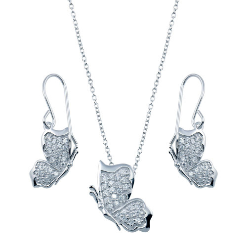Wholesale Sterling Silver 925 Rhodium Plated Butterfly Necklace and Earrings Set - STS00272CLR