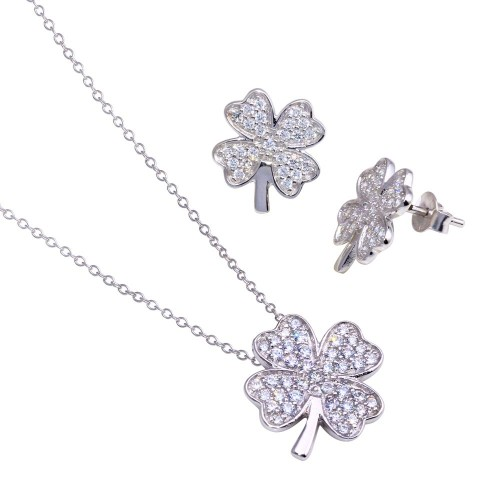 Wholesale Sterling Silver 925 Rhodium Plated Clover CZ Stud Earring and Necklace Set - STS00278