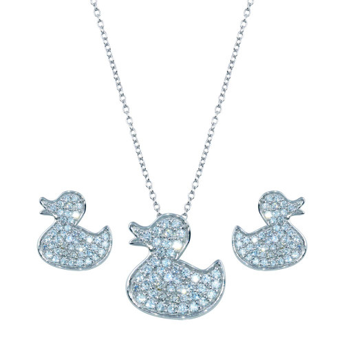 Wholesale Sterling Silver 925 Rhodium Plated Duck CZ Stud Set - STS00282