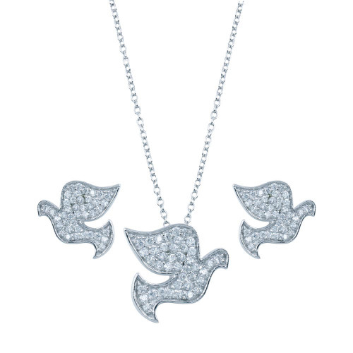 Wholesale Sterling Silver 925 Rhodium Plated Dove CZ Stud Earring and Necklace Set - STS00285