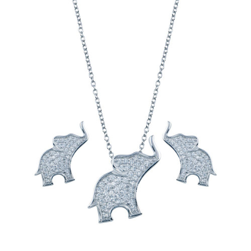 Wholesale Sterling Silver 925 Rhodium Plated Elephant CZ Stud Earring and Necklace Set - STS00287