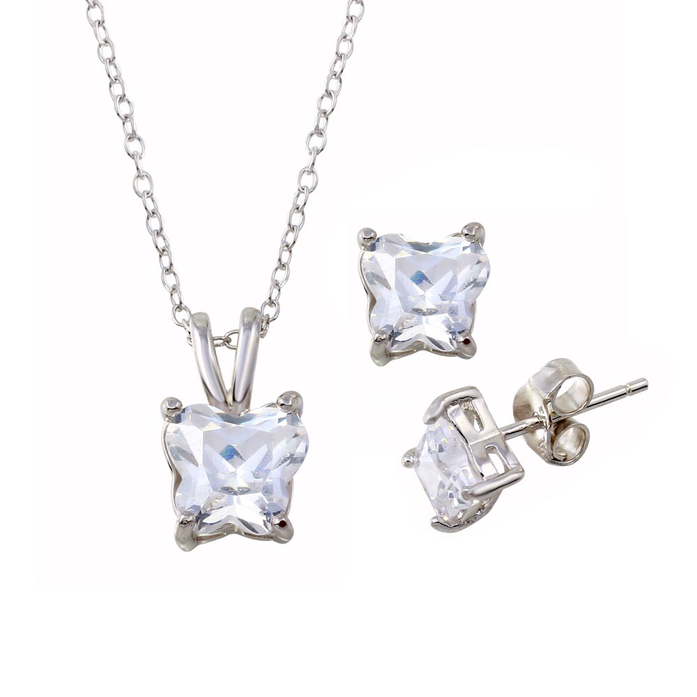 Wholesale Sterling Silver 925 Rhodium Plated Butterfly Shape CZ Stud Earring and Necklace Set - STS00292