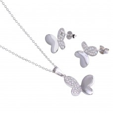 Wholesale Sterling Silver 925 Rhodium Plated Butterfly CZ Stud Earring and Necklace Set - STS00298