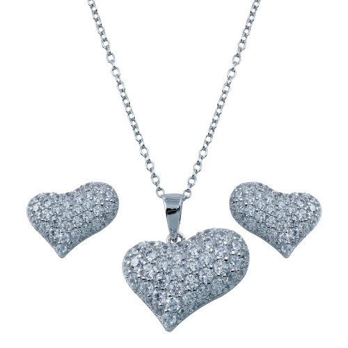 Wholesale Sterling Silver 925 Rhodium Plated Heart CZ Stud Earring and Necklace Set - STS00299