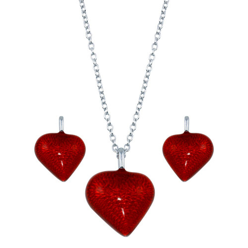 Wholesale Sterling Silver 925 Rhodium Plated Red Heart CZ Stud Earring and Necklace Set - STS00310