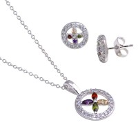 Wholesale Sterling Silver 925 Rhodium Plated Open Circle Multicolor Flower CZ Stud Earring and Necklace Set - STS00319