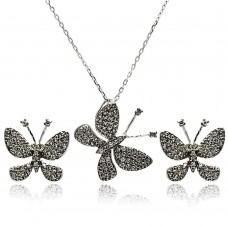 Wholesale Sterling Silver 925 Rhodium Plated Black Butterfly CZ Stud Earring and Necklace Set - STS00324BLACK