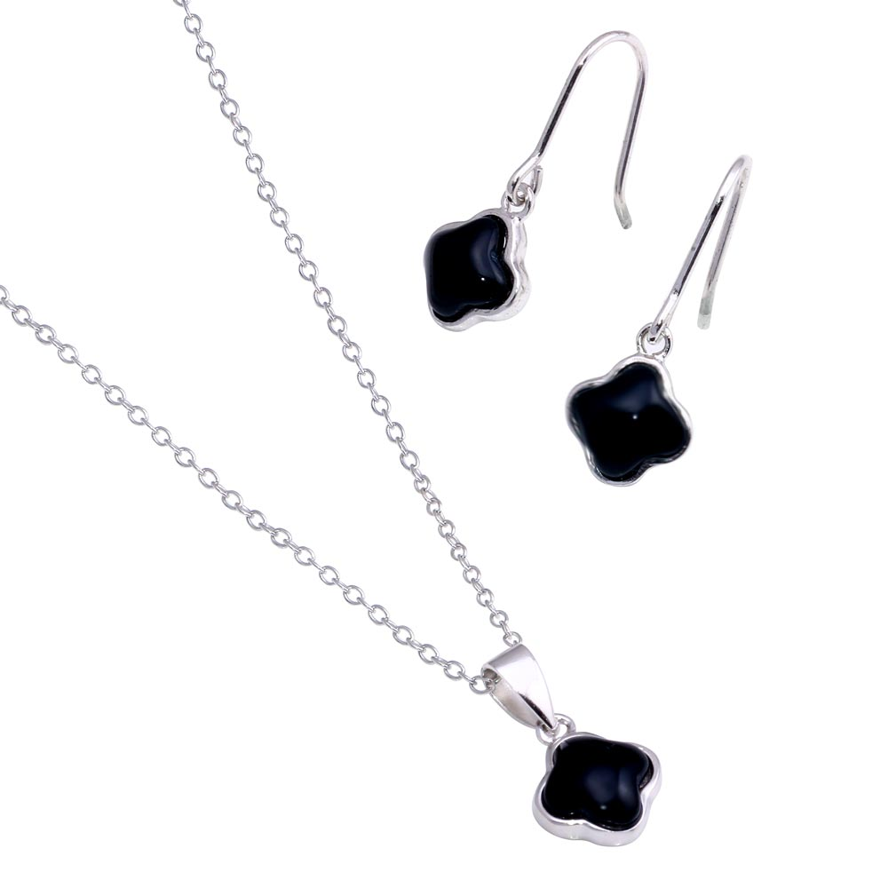 Wholesale Sterling Silver 925 Rhodium Plated Black Onyx Flower Dangling Hook Earring and Necklace Set - STS00354