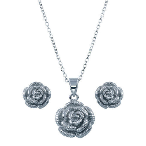 Wholesale Sterling Silver 925 Rhodium Plated Flower CZ Stud Earring and Necklace Set - STS00426