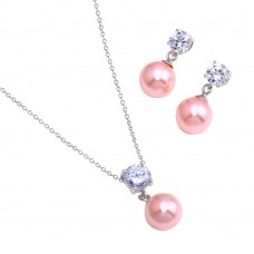 Wholesale Sterling Silver 925 Rhodium Plated Pink Pearl Dangling Stud Earring and Necklace Set - STS00427