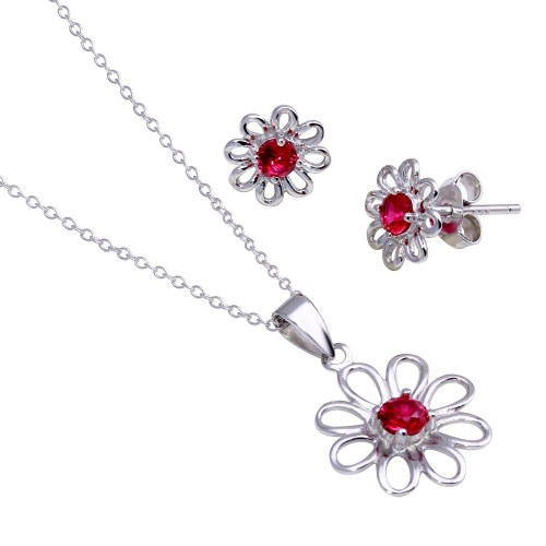 Wholesale Sterling Silver 925 Rhodium Plated Open Flower Center Red Round CZ Set - STS00431