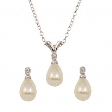 Wholesale Sterling Silver 925 Rhodium Plated Tear Drop Pear Earrings and Necklace set with CZ - STS00450