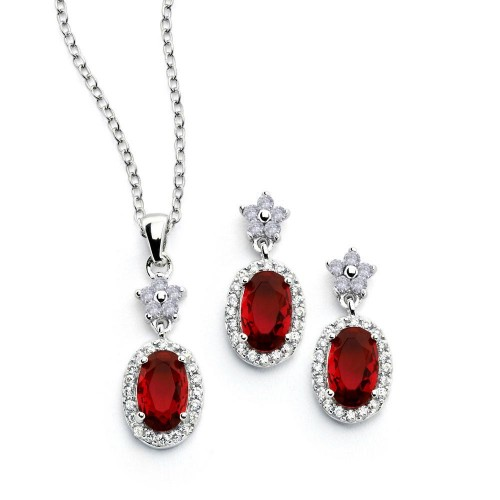 Wholesale Sterling Silver 925 Rhodium Plated Flower Round Red CZ Dangling Stud Earring and Necklace Set STS00473