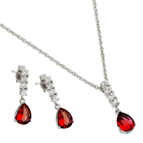 Wholesale Sterling Silver 925 Rhodium Plated Teardrop CZ Dangling Matching Set - STS00494