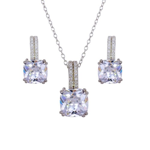 Wholesale Sterling Silver 925 Rhodium Plated Square Solitaire Set with CZ - STS00512