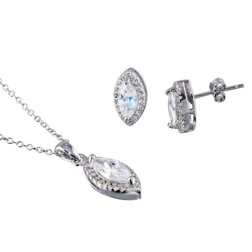 Wholesale Sterling Silver 925 Rhodium Plated Clear CZ Marquise Shape CZ Set - STS00515