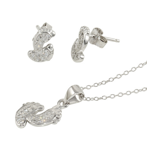 Wholesale Sterling Silver 925 Rhodium Plated Feet Earrings and Necklace Set - STS00516