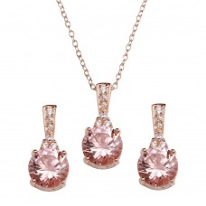 Wholesale Sterling Silver 925 Rose Gold Plated Pink CZ Necklace and Earrings - STS00517RGP