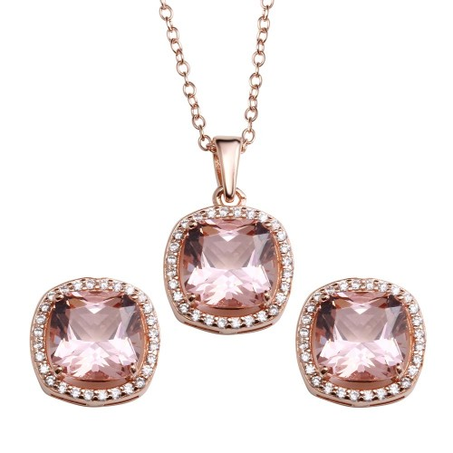 Wholesale Sterling Silver 925 Rose Gold Plated Rounded Square Pink CZ Pendant Necklace and Earrings Set - STS00518RGP