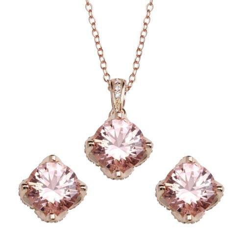 Wholesale Sterling Silver 925 Rose Gold Plated Pink CZ Stud Earrings and Pendant Necklace Set - STS00519RGP