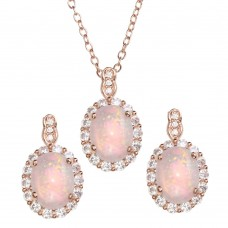 Wholesale Sterling Silver 925 Rose Gold Plated Oval Synthetic Set with CZ - STS00520RGP