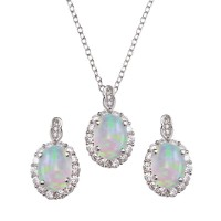 Wholesale Sterling Silver 925 Rhodium Plated Round Synthetic Opal Set with CZ - STS00520RH