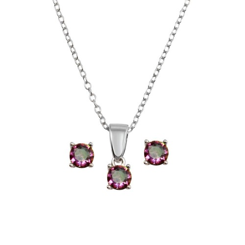 Wholesale Sterling Silver 925 Rhodium Plated Small Synthetic Mystic Topaz Set - STS00521ABD