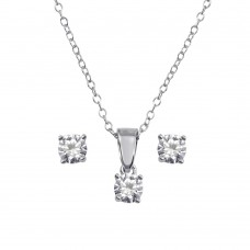Wholesale Sterling Silver 925 Rhodium Plated Small Crystal AB CZ Earrings and Necklace Set - STS00521CLR