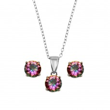 Wholesale Sterling Silver 925 Rhodium Plated Plated Synthetic Mystic Topaz Set - STS00523ABD