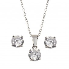 Wholesale Sterling Silver 925 Rhodium Plated Clear CZ Necklace and Earrings Set - STS00523CLR