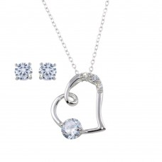 Wholesale Sterling Silver 925 Rhodium Plated Side way CZ Open Heart Set - STS00524