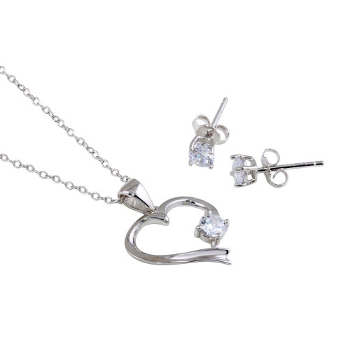 Wholesale Sterling Silver 925 Rhodium Plated Single CZ Open Heart Set - STS00525