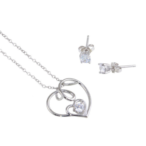 Wholesale Sterling Silver 925 Rhodium Plated Side Way CZ Open Double Heart Set - STS00526