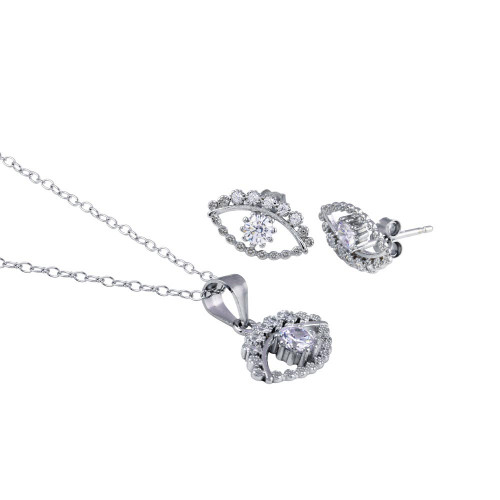 Wholesale Sterling Silver 925 Rhodium Plated Clear CZ Evil Eye Set - STS00530