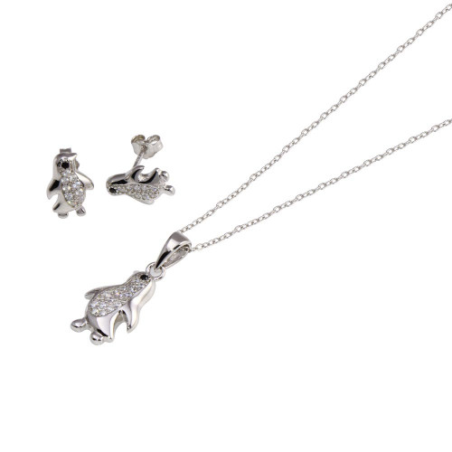 Wholesale Sterling Silver 925 Rhodium Plated Penguin CZ Set - STS00532