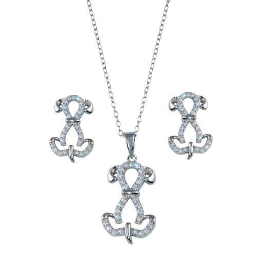 Wholesale Sterling Silver 925 Rhodium Plated Dog CZ Set - STS00533