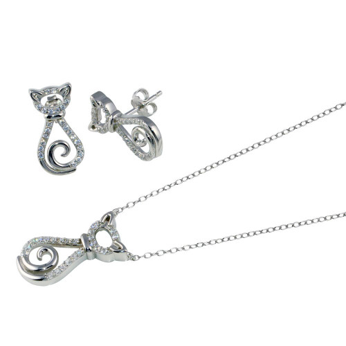 Wholesale Sterling Silver 925 Rhodium Plated Cat CZ Set - STS00534