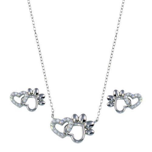 Wholesale Sterling Silver 925 Rhodium Plated Paw Heart CZ Set - STS00535