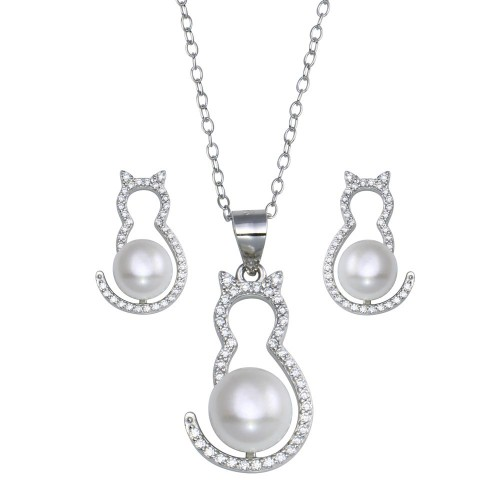 Wholesale Sterling Silver 925 Rhodium Plated Cat CZ Mother of Pearl Set - STS00536
