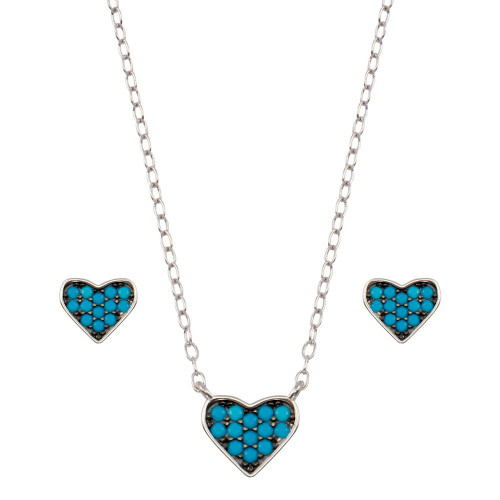 Wholesale Sterling Silver 925 Rhodium Plated Blue Heart Cluster Set - STS00538-BLU
