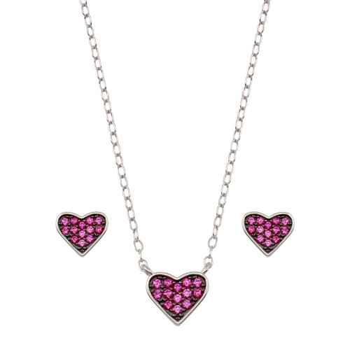 Wholesale Sterling Silver 925 Rhodium Plated Red Heart Cluster Set - STS00538-RED