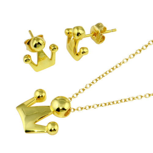 Wholesale Sterling Silver 925 Gold Plated Crown Set - STS00539-GP