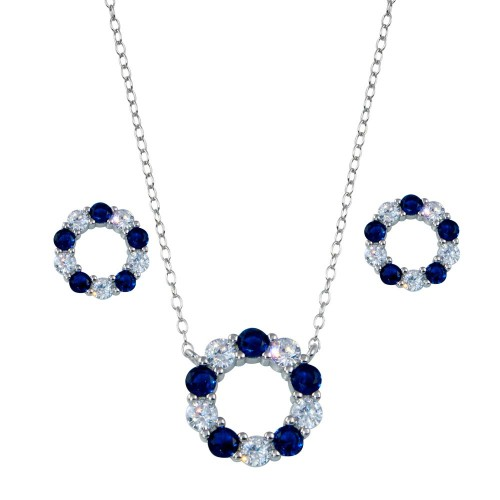 Wholesale Sterling Silver 925 Rhodium Plated Round CZ Set - STS00540