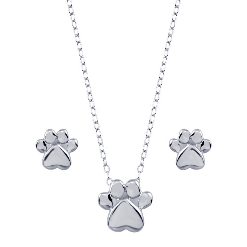 Wholesale Sterling Silver 925 Rhodium Plated Dog Paw Sets - STS00543